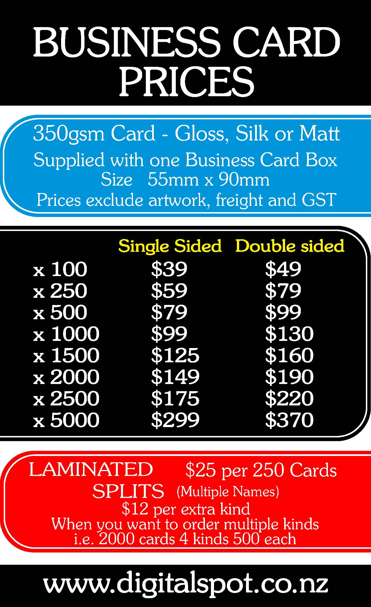 Digital Spot Printing Business Card Prices 2017 Nz Auckland